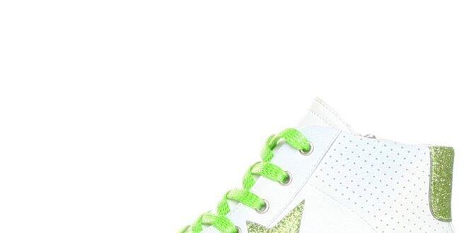 Dámske biele tenisky se zelenou hviezdou Ana Lublin