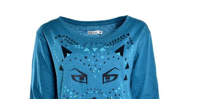 d8123718d Dámske modré tričko s dlhým rukávom Sublevel | Zlavomat.sk
