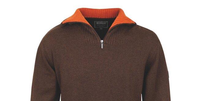 f4bd726dc Pánsky hnedý polozapínací sveter s oranžovým golierom Bushman ...