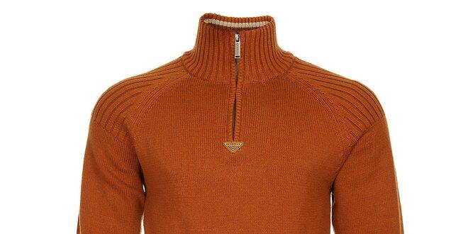 Pánsky oranžový sveter Bushman so stojačikom