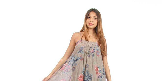 919b26c52804 Dámske šedohnedé šaty s kvetinovou potlačou Anabelle