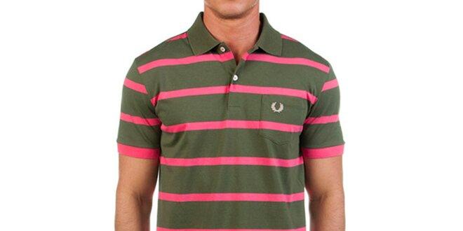 Pánske zelené polo tričko s ružovými prúžkami Fred Perry