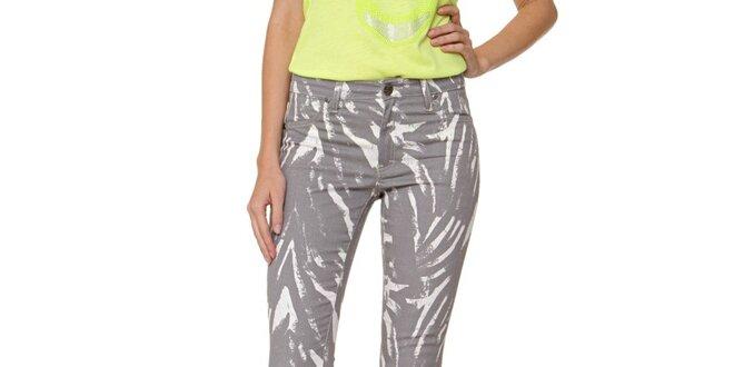 Dámske šedé vzorované úzke džínsy Fiveunits