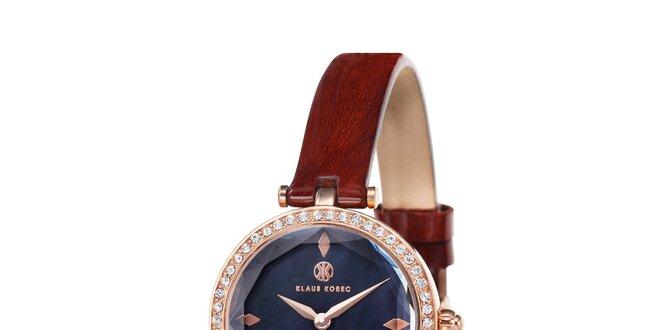 Dámske zlato zafarbené hodinky s čiernym ciferníkom Klaus Kobec ... 3a89506668