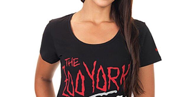 578c5ee10652 Dámske čierne predĺžené tričko s farebnou potlačou Zoo York ...