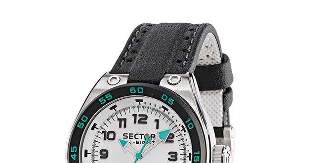 Pánske oceľové hodinky Sector s čiernym koženým remienkom  1ac58c24e6
