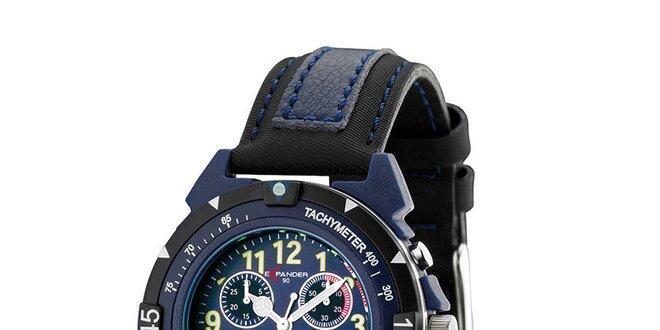 Pánske čierno-modré oceľové hodinky Sector s koženým remienkom ... 313cb9aadd