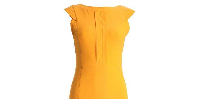 Dámske žlté púzdrové šaty s vykrojenými chrbátom CeMeLondon ... 3c48d8bc879