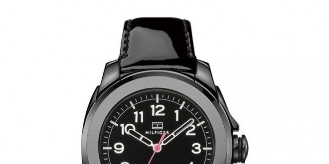 Dámske čierne keramické hodinky s lesklým remienkom Tommy Hilfiger ... c835b10c60