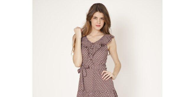 31c4f75c20dd Dámske retro šaty s hnedým vzorom Tantra