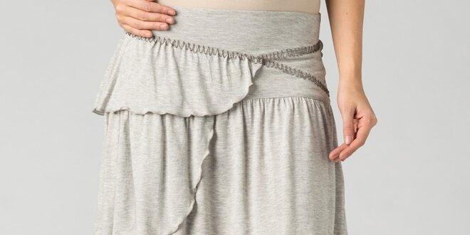 Dámska svetlo šedá melírovaná mini sukňa By Zoé s volánmi