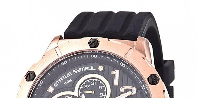 577ad77d8 Pánske zlato-čierne hodinky Lancaster s čiernym silikónovým remienkom