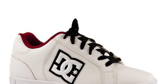 d94c2c43649a Biele kožené tenisky s čierno-červenými detailmi DC