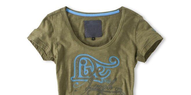 Dámske khaki tričko so šnúrkami Brunotti