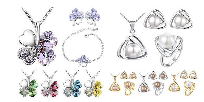 Krásny 3 dielny set šperkov štvorlístok alebo perla