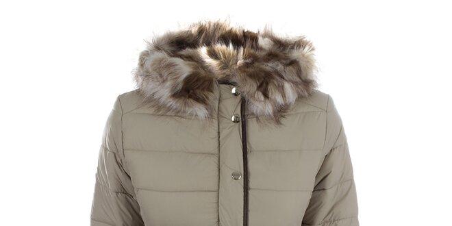 Dámska hnedobéžová zimná bunda s kapucňou Bilin