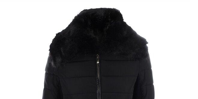 Dámska prešívaná čierna bunda s opaskom PINKLINE Love & Passion