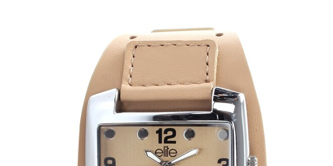 Dámske hodinky z nerezovej ocele s béžovým remienkom Elite