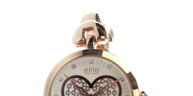 Dámske hodinky v zlatom tóne so srdiečkom Elite