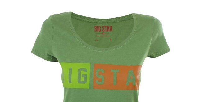 a41703357d87c Dámske zelené tričko s farebným nápisom Big Star | Zlavomat.sk