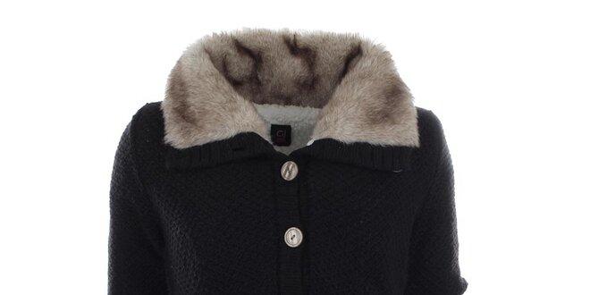 Dámsky zapínací sveter s kožušinkou Gaudí  532002e63a3