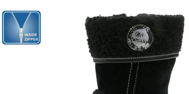 Dievčenské čierne topánky s kožúškom a kontrastným prešívaním Beppi