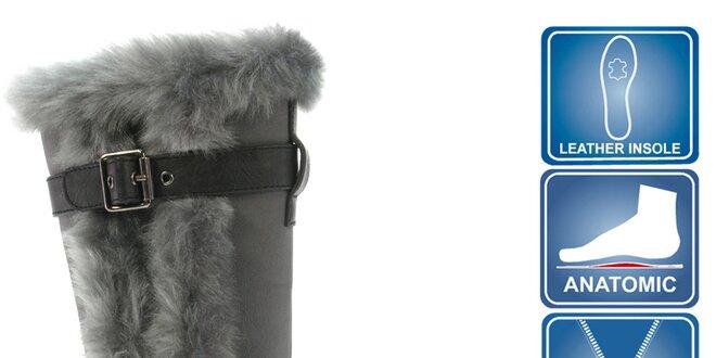 Dievčenské čierne topánky so šedým kožúškom Beppi
