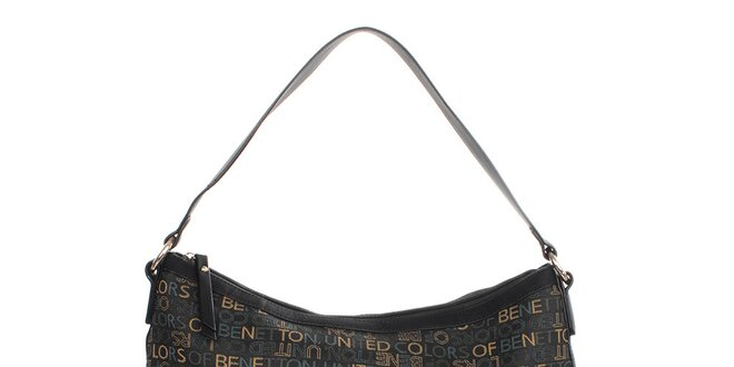 77655e7230a48 Dámska čierna kabelka s farebnými nápismi United Colors of Benetton ...