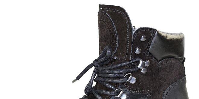 f7cbe6602853 Dámske čierne kožené topánky so šnurovaním Bullboxer