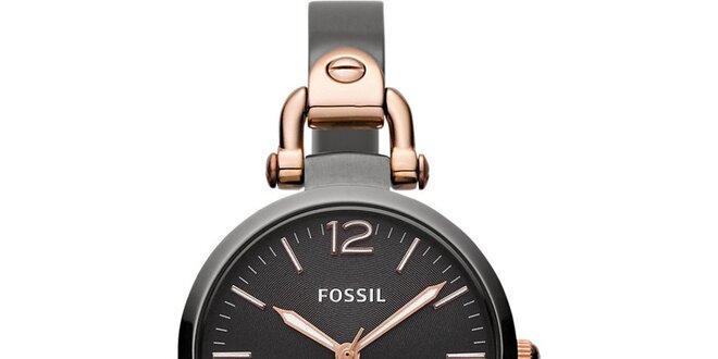 Dámske čierne guľaté hodinky Fossil s pozlátenými detailmi