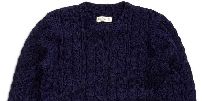 Dámsky modrý sveter s vrkočovým vzorom Timeout