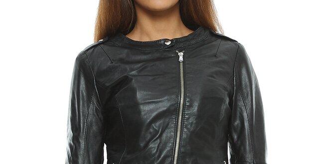 Dámska koňakovo hnedá kožená bunda s asymterickým zipsom Mangotti ... d746e737469