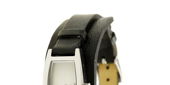 Dámske oceľové hodinky Mustang s čiernym koženým remienkom  312973c2a9