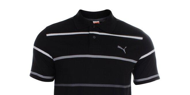 44deb68c28be Pánske čierne polo tričko s prúžkami Puma