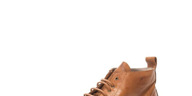 Pánske svetlo hnedé členkové šnurovacie topánky Nobrand