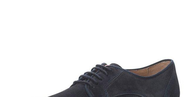 Pánske kožené členkové topánky v tmavo modrej farbe Nobrand