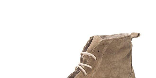 Pánske kožené členkové topánky v šedo-béžovom odtieni Nobrand