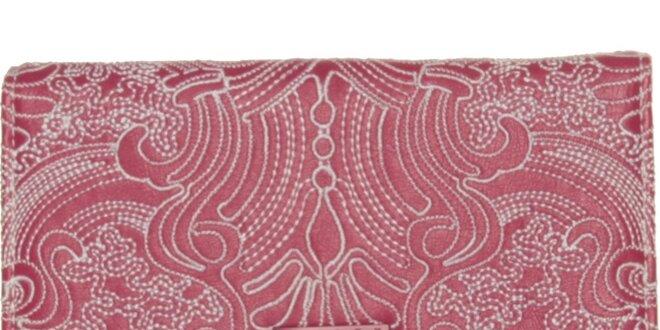 Dámska ružová peňaženka Sisley s výšivkou