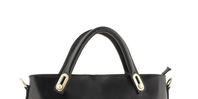 b770205c0d03 Dámska čierna kožená obdĺžniková kabelka Valentina Italy