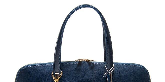 Dámska tmavo modrá kožená kabelka s príveskom Luisa Vannini ... be3bc866a4d