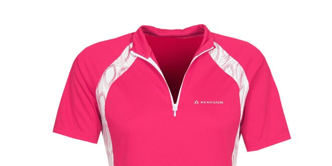 Dámske ružové cyklistické tričko so zipsom Bergson