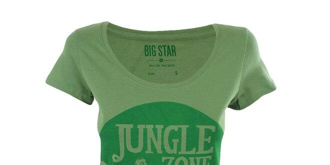 bd1a23d8840d Dámske zelené tričko s potlačou džungle Big Star