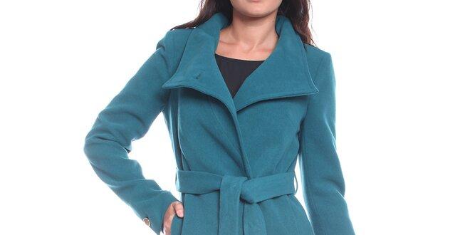 Dámsky modrý kabát s opaskom Vera Ravenna  4703424e649