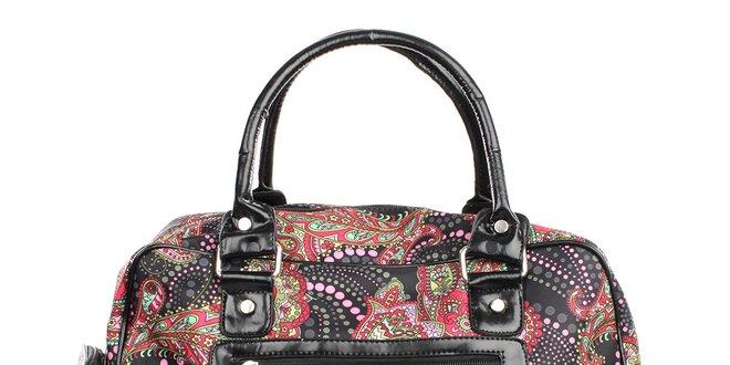 322296342158 Dámska čierna kabelka s farebnou potlačou London Fashion
