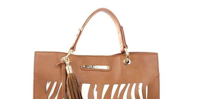 39a5f5d112 Dámska hnedá kabelka s ozdobným strapcom LYDC