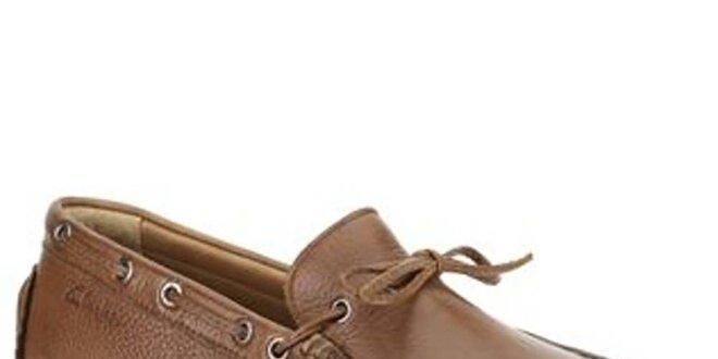 Pánske hnedé kožené mokasíny s viazaním Clarks  d7768fd563c