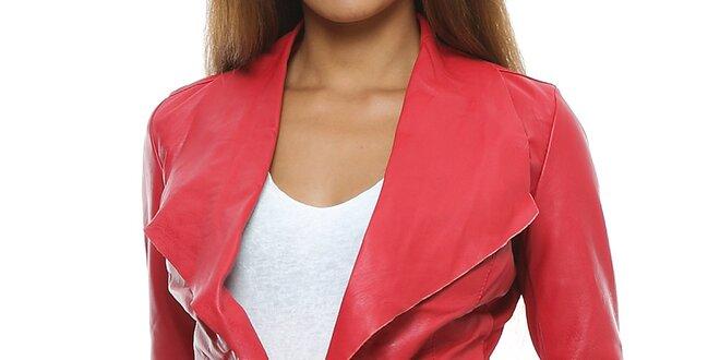 Dámske červené kožené sako Mangotti