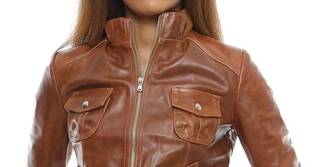 472db71fc177 Dámska koňakovo hnedá kožená bunda s vreckami Mangotti