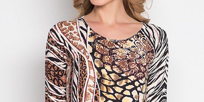 Dámske béžovo-hnedé tričko so zvieracím vzorom Imagini