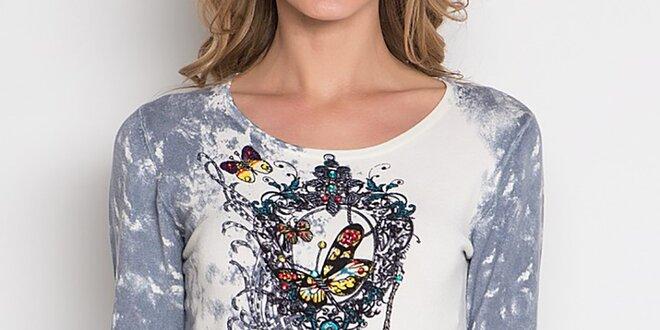 Dámske tričko s farebnou dekoratívnou aplikáciou Imagini